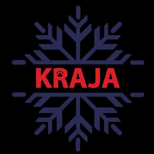 En mörkblå stjärna med ordet Kraja i rött i mitten